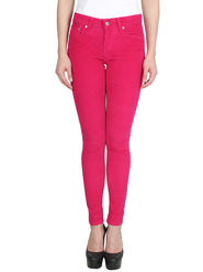 Levis Solid Corduroy Slim Fit Pink Women Jeggings -os01