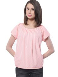 Meira Poly Crepe Printed-Top - Pink - MEWT-1063-C