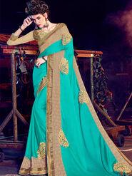 Indian Women Embellished Chiffon Cyan Designer Saree -Mg12502