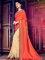 Indian Women Embellished Silk Orange & Cream Designer Saree -Mg12503