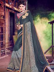 Indian Women Embellished Silk Grey Designer Saree -Mg12504