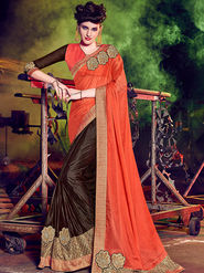 Indian Women Embellished Chiffon Red & Brown Designer Saree -Mg12507
