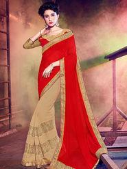 Indian Women Embellished Georgette Red & Beige Designer Saree -Mg12508