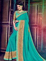 Indian Women Embellished Chiffon Cyan Designer Saree -Mg12509
