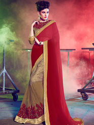 Indian Women Embellished Georgette Maroon & Gold Designer Saree -Mg12510