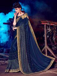 Indian Women Embellished Silk Violet Designer Saree -Mg12511