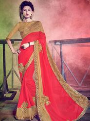 Indian Women Embellished Georgette Red Designer Saree -Mg12512