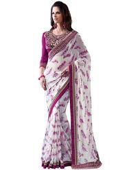 Nanda Silk Mills Designer Printed Georgette Sarees With Embroidered Blouse Piece  _MK-2005