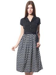 Meira Printed Crepe Women's Dress - Black _ MEWT-1126-E-Black
