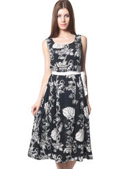 Meira Printed Crepe Women's Dress - Black _ MEWT-1193-Black