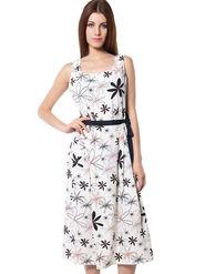 Meira Printed Crepe Women's Dress - White _ MEWT-1193-A-White