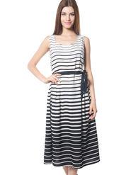 Meira Printed Crepe Women's Dress - White _ MEWT-1193-B-White