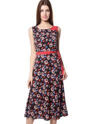 Meira Printed Crepe Women's Dress - Multicolour _ MEWT-1194-Multi