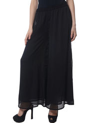Meira Poly Chiffon Solid Palazzo - Black - MEWT-1173-A