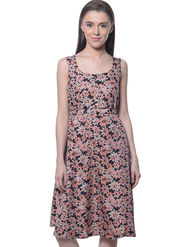 Meira Poly Crepe Printed Dress - Multicolor - MEWT-1090-F-Multi