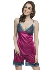 Clovia Polysatin & Nylon Lace Solid Nightsuit -NS0340P14