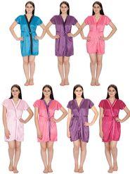 Set of 7 Klamotten Solid Satin Robes-04W28T2