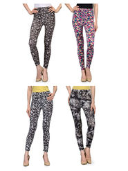 Pack of 4 Oleva Printed Cotton Lycra Jeggings -so02