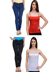 Oleva Combo Of  4 Blue & Black Denim + Red & White Spaghetti ONC-41