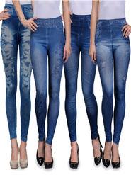 Combo of 4 Oleva Solid Cotton Lycra Blue Jeggings -ONJ_4
