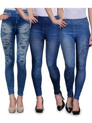 Combo of 3 Oleva Solid Cotton Lycra Blue Jeggings -ONJ_5