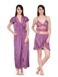 Set of 3 Satin Plain Nightwear-ONW_10_2003_VIOLET
