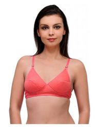 Oleva Cotton Plain Bra - Pink