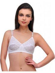 Oleva Cotton Printed Bra - White