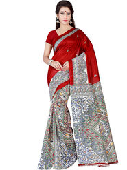 Shonaya Printed Bhagalpuri Art Silk Red & Beige Saree -Pdbhp-04