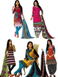 Pack of 5 Priya Fashions Printed Cotton Unstitched Dress Material -PF5S03