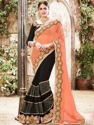 Indian Women Embroidered Marble Orange & Black Saree -Ra21022