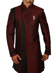 Runako Regular Fit Elegant Silk Brocade Sherwani For Men - Maroon & Black