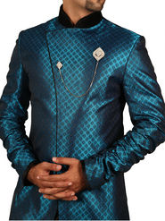 Runako Regular Fit Elegant Silk Brocade Sherwani For Men - Blue