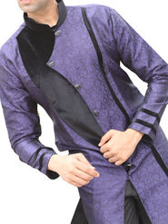 Runako Regular Fit Elegant Silk Brocade Sherwani For Men - Violet