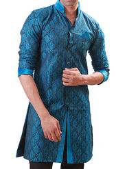 Runako Regular Fit Elegant Silk Brocade Sherwani For Men - Blue_RK1056