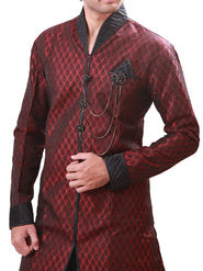 Runako Regular Fit Elegant Silk Brocade Sherwani For Men - Maroon_RK1064