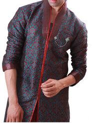 Runako Regular Fit Elegant Silk Brocade Sherwani For Men - Green & Maroon
