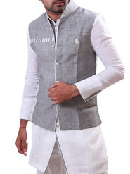 Runako Regular Fit Silk Brocade Kurta Pyjama For Men - White & Silver