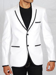 Runako Solid Regular Full sleeves Party Wear Blazer For Men - White_RK5021