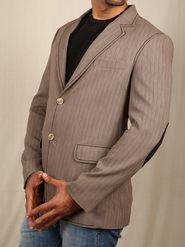 Runako Solid Regular Full sleeves Party Wear Blazer For Men - Beige