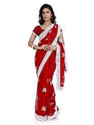 Designer Chiffon Saree - Red