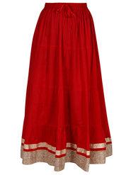 Amore Plain Cotton Embellished Skirt -Skv083R