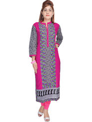 Shop Rajasthan Printed Rayon Long Straight Kurti -Sre2264