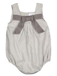 ShopperTree Stripped Grey Yarn Dyed Cotton Stripe Romper-ST-1724