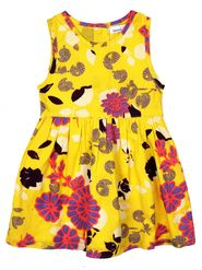 ShopperTree Printed Yellow Cotton Voile Dress-ST-1725