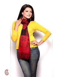 Aapno Rajasthan Pashmina  Red & Black Shawl -St1340