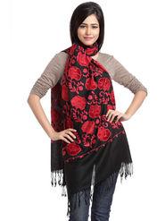 Aapno Rajasthan Pashmina  Black & Red Shawl -St1430