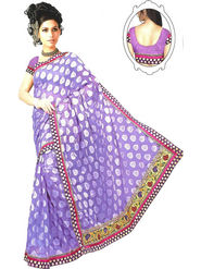 Sukuma Self Print Net Jacquard Saree - Purple
