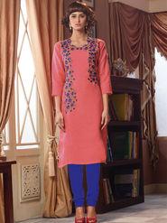 Viva N Diva Poly Linen Floral Embroidery Kurtis -Senorita-Again-7542