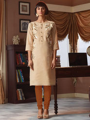 Viva N Diva Poly Linen Floral Embroidery Kurtis -Senorita-Again-7549